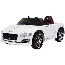 Homcom Coche Eléctrico para Niño 3-8 Años Bentley con Mando a Distancia MP3 USB Luces y Sonidos Asiento de Cuero Apertura de Puerta 108x60x43cm Carga 30kg