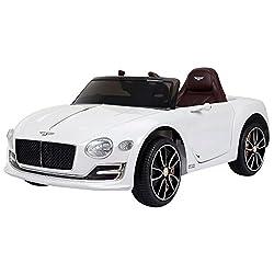 HOMCOM Kinderauto Kinderfahrzeug Elektroauto Bentley GT mit Fernbedienung Kinder Weiß 108 x 60 x 43cm