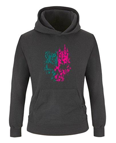Comedy Shirts - Digital Skull - Mädchen Hoodie - Schwarz/Pink-Türkis Gr. 122/128 -