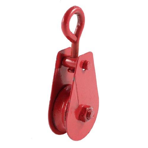 Sourcingmap - Rojo 40 mm de diámetro de la polea sola polea cuerda ojo giratorio tackle aparejo 0,1 ton