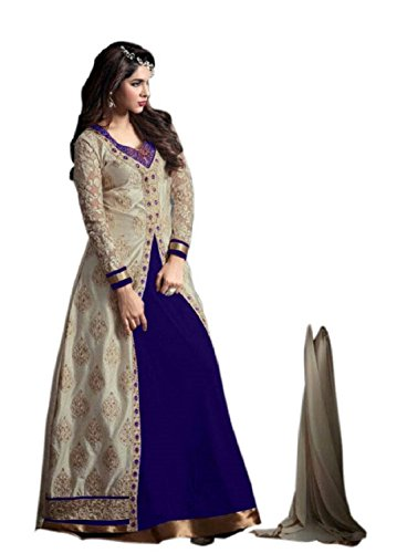 Alka Banglori Silk Fabric Embroidery Indo Western Dress Material For Women ( Blue )