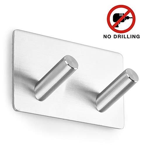Ganchos Adhesivos Toallero Perchero Ganchos de pared 304 acero inoxidable Ganchos de pared Autoadhesivo ganchos adhesivos para cocina baño (2 Hooks)