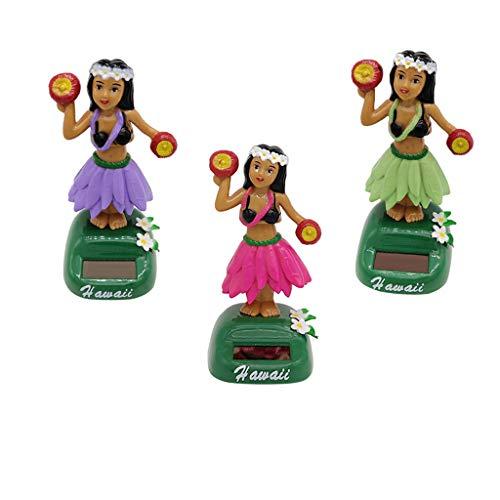KESOTO 3X Juguete de Muñecas de Hawaii Bailando Alimentada por Luz Solar Regalo de Fiesta Cumpleaños para Mujer Chica
