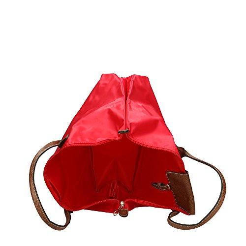 CTM Borsa a Spalla Grande da Donna in Finta Pelle e Tessuto �?39x35x17 Cm Rosso