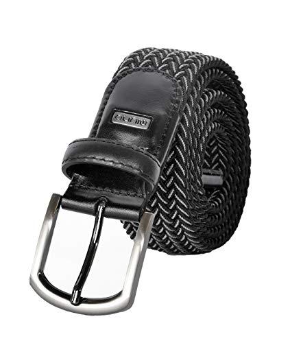 Miuno® Unisex Elastischer Strechgürtel mit Lederdetails Stoffgürtel Geschenkbox 2611 (110Bw.(120cm), Schwarz_003) - 003 Leder