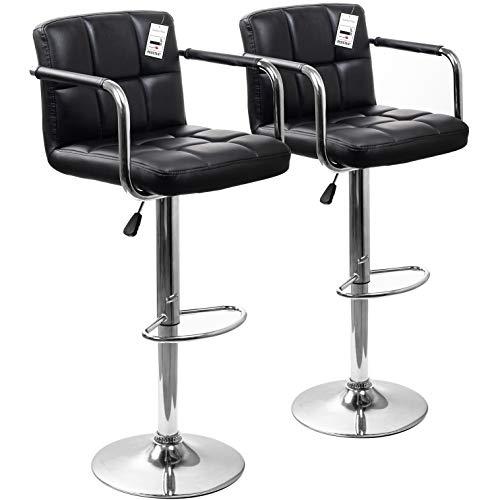 Display4top sgabelli da bar, con struttura cromata, girevole a 360 gradi, sedie imbottite morbide, set di 2 (nero/bracciolo)