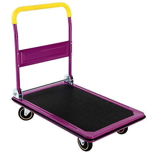 Küchenwagen Faltbarer Schwerlastwagen-Handwagen 150/300 kg Tragfähigkeit rostfrei, violett (Farbe : Lila, größe : 60×90×88cm)