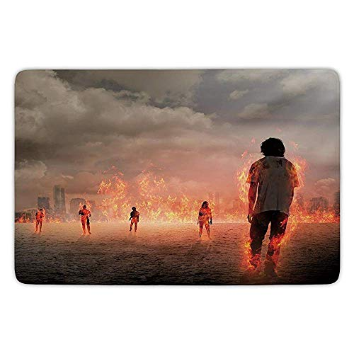 Bathroom Bath Rug Kitchen Floor Mat Carpet,Zombie Decor,Group of People in Flame in The Water Under Storm Clouds Image,Pearl Egg Shell Vermilion,Flannel Microfiber Non-Slip Soft Absorbent Storm Soft Shell