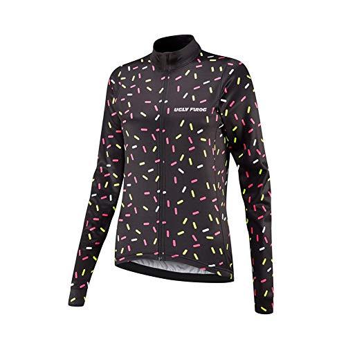Uglyfrog Damen Langarm Bike Wear Thermo Radtrikot Pro/Fleece Warm/Back Pockets/Reflektoren/Full Zip Flaggenmuster-Streifen-Design