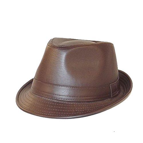 Chapeau-tendance - Chapeau Trilby façon Cuir Marron - 58 - Homme