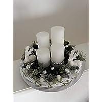 Adventsgesteck Black&White Adventskranz Modern Weihnachtskranz mit Kerzen Tischdeko Winter