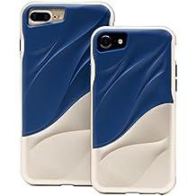 Cover iPhone 7/iPhone 8 silicone morbido TPU Hard Bumper PC Onda dell'acqua Doppio strato custodia protettiva di JOYTAG(D'oro+Blu scuro)
