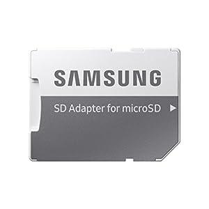 Samsung MicroSDXC EVO - Tarjeta de memoria de 256 GB (clase 10, 100 MB/s, UHS-I, IPX7) color naranja y blanco