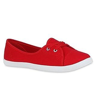 Klassische Damen Ballerinas Sportliche Stoff Slipper Flats Sneakers Slip-ons viele Farben Schuhe 47541 Rot 41 | Flandell®