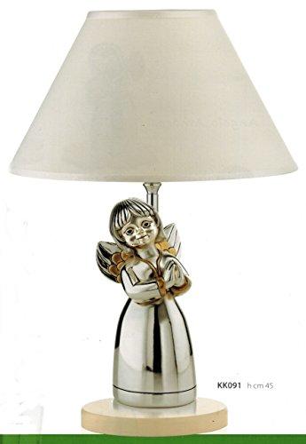 Lampada angelo serenita' kikke h cm 20 cappa stoffa bianca inserti dorati laminato argento made in italy