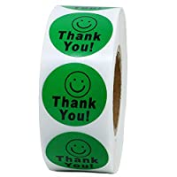 New hot sale Round Thank You Smiley Face Happy Stickers 1,000 Adhesive Labels Per Roll