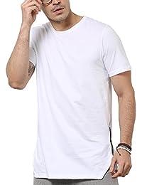 SKULT Men White Relaxed Fit Midline Side Zipper Tee