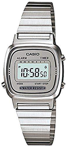 9f2bd4da6ebf CASIO Reloj Digital para Mujer de Automático con Correa en Acero Inoxidable  Chapado en Platino LA