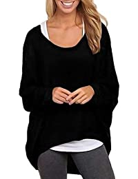 FEITONG Mujer batwing Manga Suelto Suéter Pull-over Casual Parte superior Blusa