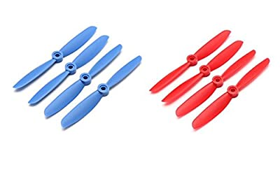 Genuine Gemfan 5045 5x4.5 Bullnose Propellers 8 pieces (4 CW, 4 CCW) Facil&co©- Dark Blue & Red- Quadcopters and Multirotors Props