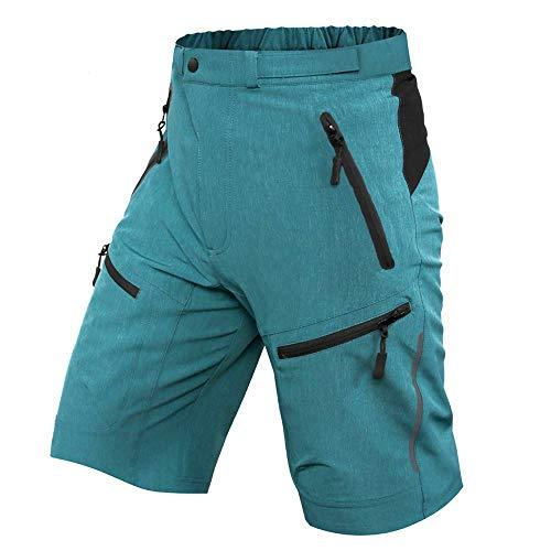 ALLY MTB Hose Herren Radhose, Wasserabweisend Mountainbike Kurz, Outdoor Sport Fahrradhose Herren Shorts (Blau, XL(Taille:35
