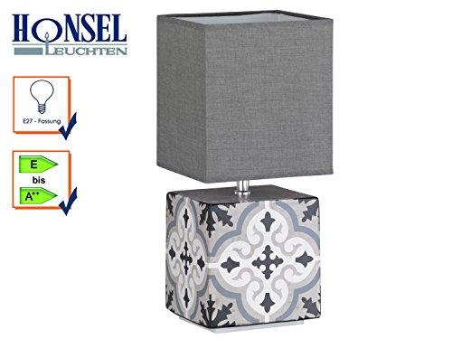 Honsel Oriental Lámpara de Mesa, Blanco/Gris