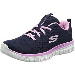Skechers 12615', Zapatillas para Mujer, Azul (Navy/Pink), 36 EU