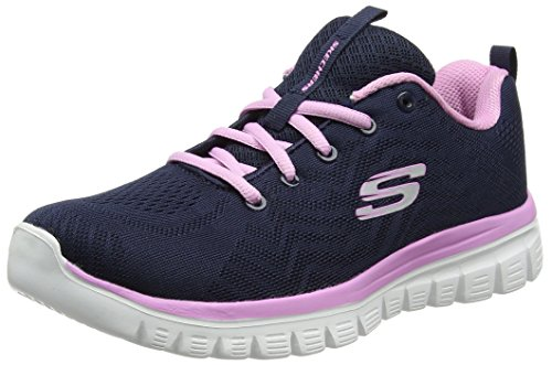 Skechers Damen Graceful-Get Connected Sneaker, Blau (Navy/Pink), 36 - Skechers-damen-mode