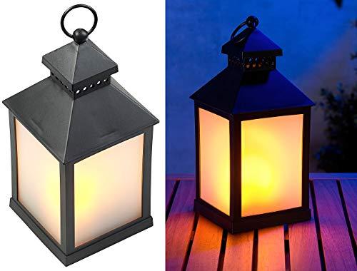 Lunartec LED Laterne Outdoor: LED-Laterne mit realistischem Flammenspiel und Timer, schwarz (LED Laterne Outdoor mit Timer)