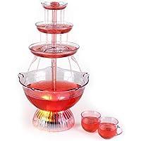 oneConcept Proseccano • Partybrunnen • elektrischer Getränkebrunnen • 3 Liter Fassungsvermögen • LED-Brunnenbeleuchtung • Stecksystem • 5 Einfüllhilfen • 5 Tassen • transparent