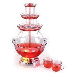 oneConcept Proseccano - Partybrunnen, elektrischer Getränkebrunnen, 3 Liter Fassungsvermögen, LED-Brunnenbeleuchtung, Stecksystem, 5 Einfüllhilfen, 5 Tassen, transparent