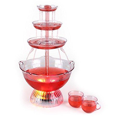 (oneConcept Proseccano • Partybrunnen • elektrischer Getränkebrunnen • 3 Liter Fassungsvermögen • LED-Brunnenbeleuchtung • Stecksystem • 5 Einfüllhilfen • 5 Tassen • transparent)