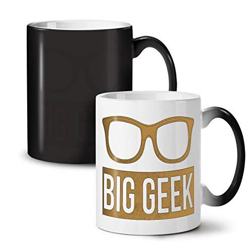 Wellcoda Groß Brille Nerd Geek Farbwechselbecher, Geeky Tasse - Großer, Easy-Grip-Griff, Wärmeaktiviert, Ideal für Kaffee- und Teetrinker
