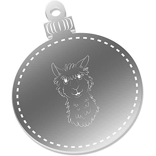 Azeeda 2 x 75mm 'Lama Gesicht' Spiegel Weihnachtsdekoration (CB00053344)