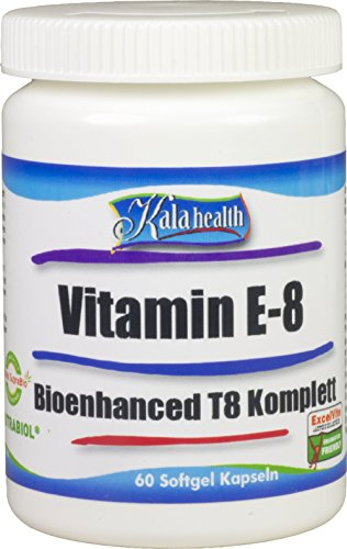 Kala Health Vitamin E-8 Bioenhanced T8-60 Kapseln Hoch Dosiert - Enthält alle 8 bekannten Formen Vitamin E, darunter 4 Tocopherole und 4 Tocotrienole