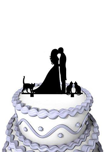 Mei Jia Fei Kissing Paar mit 3 liebte Katzen Silhouette Familie Kuchen-Deckel (Kuchen-deckel-monogramm-m)