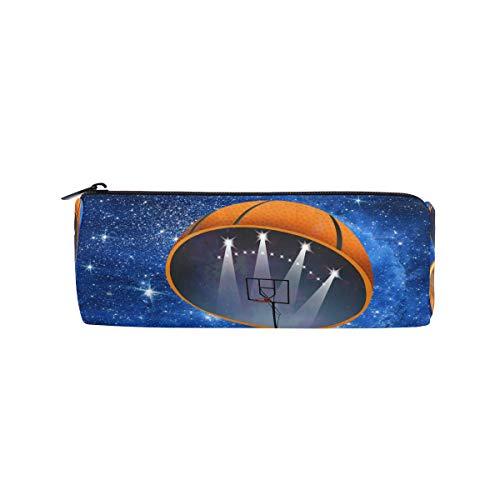 Federmäppchen in Zylinderform für Sport, abstraktes Basketball, Stadion, Stifte, Schreibwaren, Tasche mit Reißverschluss (In Billig Bulk Basketbälle)