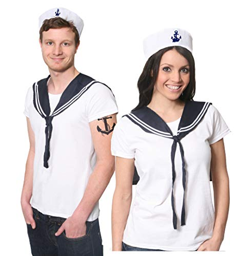 ILOVEFANCYDRESS Matrosen Kappe +Matrosen Schal +WEIßES Kurz ÄRMLIGES Tshirt = Unisex Seemann +Matrose = 5 Verschiedenen GRÖßEN = Fasching +Karneval KOSTÜM Verkleidung = Tshirt-XXLarge