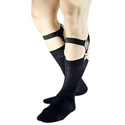 iEFiEL 1Paar Einstellbar Sockenhalter Herren Strumpfhalter Clips-Strumpfhalter Socken Strumpf Garter Schwarz One Size (Socke Strumpfbänder Herren)