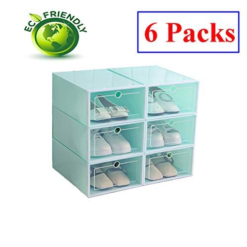 durchsichtige schuhkartons Hwalla Schuhkartons Durchsichtiger Kunststoff stapelbar, Schuhkartongrößen-Vorratsbehälter mit Deckel (Grün, 6 Pack)