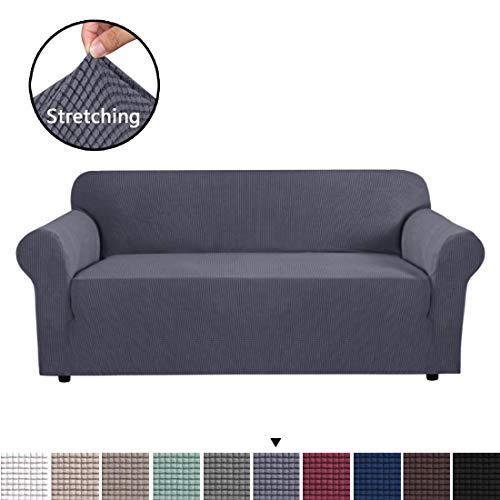 BellaHills Sofa Cover Grau Sofa Schonbezug 3-Sitzer Sofa Cover Schonbezug Easy Stretch Fit elastischer Stoff Couch Sofa Protector Slip Cover Waschbar (Sofa Slip Cover)
