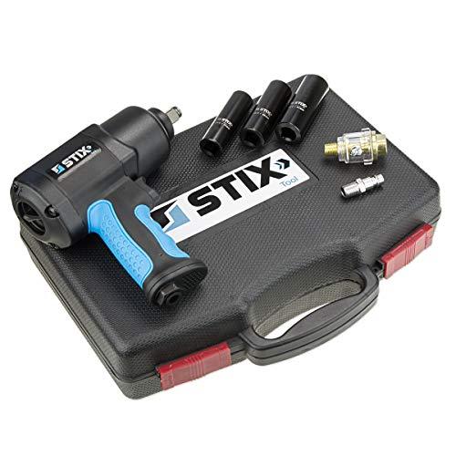 Set Schlagschrauber STT-15 Doppelschlagwerk 1/2 Zoll Pneumatisch 1500Nm Koffer mit Nüssen Druckluft Werkstatt für Profis Montage Twin-Hammer