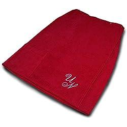 Lashuma framsohn Saunatuch FUN Sarong-Saunakilt für die Dame, Farbe: bordeaux - rot, bestickt mit Ihrem Wunsch Monogramm in silber - grau