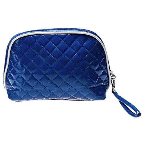 ♥Xjp Quenelles Forme cuir Portable Sac cosmétique★ (Bleu)
