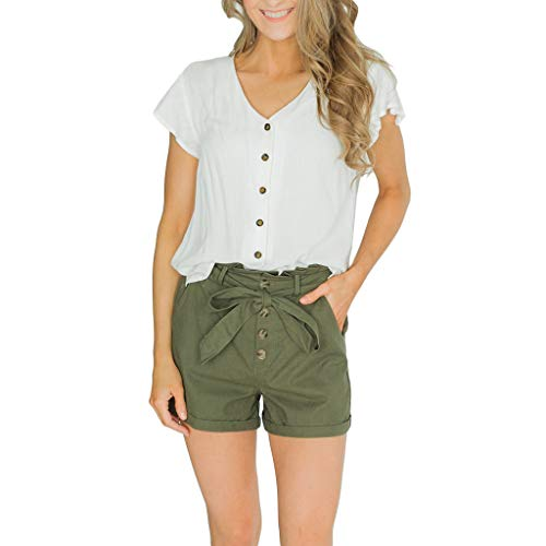 Epig Short Button Pants Damen Sommer Damen Strap Slim Fit High Waist Bow Büroarbeitsshorts -