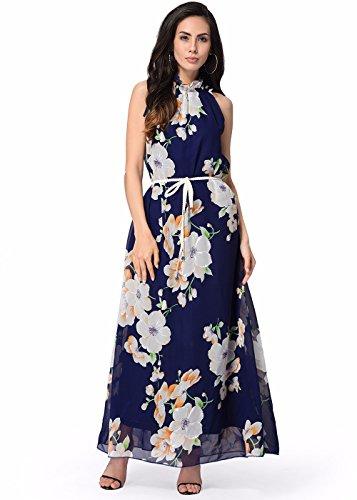 Ruiyige Damen Kleid Blumen-Marineblau - Kleider De Noche
