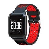 C-Xka Smart Watch Armband, IP68 Wasserdichte Farbdisplay Touchscreen Fitness Tracker Blutdruck Sport Armband Gesundheitsüberwachung (Farbe : Red)
