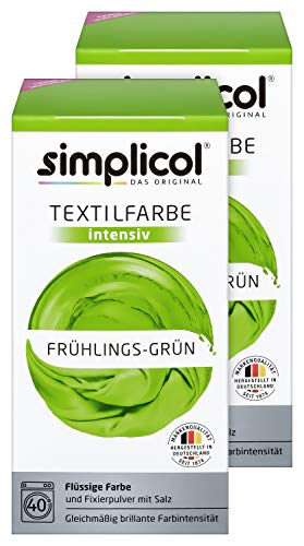 Simplicol Textilfarbe intensiv (18 Farben), Frühlings-Grün 1813 2er Pack, Hellgrün: Einfaches Färben in der Waschmaschine, All-in-1 Komplettpackung (Schwarz Und Weiß überprüft Kleid)