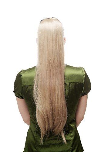 Zopf Pferdeschwanz Streckkamm und Band lang glatt blond mittelblond D13001-24 65 cm (Blonde Lange Perücke Mit Einem Zopf)