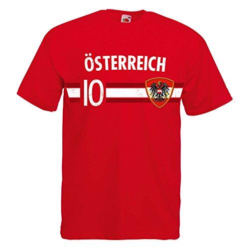 Fußball WM T-Shirt Fan Artikel Nummer 10 - Weltmeisterschaft 2018 - Länder Trikot Jersey Herren Damen Kinder Österreich Austria 4XL